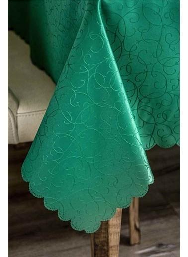 Maki 160X220 Masa Örtüsü 12 Kişilik Yeşil Desenli Yeşil
